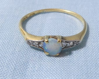 Art Deco 18ct Gold Opal And Diamond Ring Engagement Ring