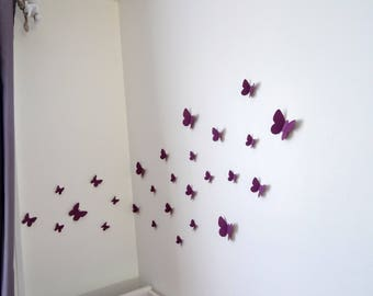 Purple 3D butterflies set for wall decoration