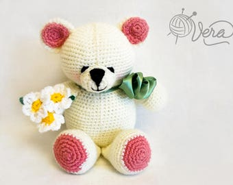 Cute crochet bear with flowers, white bear, pink bear, gift for kids, toy for newborn, toy for baby, gift for her, amigurumi bear