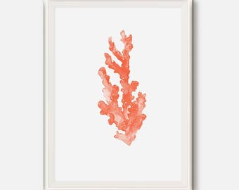 Coral print, Red coral art, Sea Life decor, coral poster, Sea Creature prints, Sea coral, Indigo Red Art, Watercolor painting, Large Print