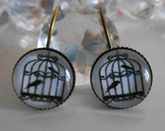 """Bird cage"" Stud Earrings black and white glass cabochon"