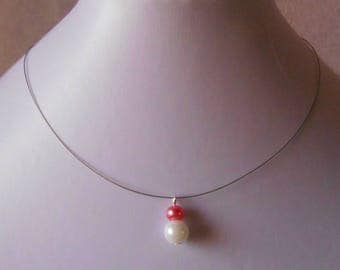 Pair of pink and White Pearl bridal necklace