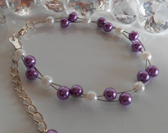 Purple and white twisted wedding bracelet