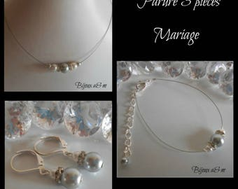 Set of 3 wedding pieces rhinestone and white pearls and clear grey
