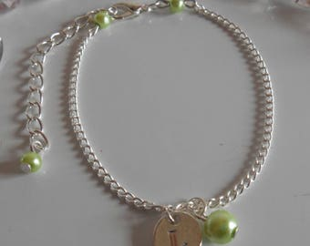 Lime green personalized silver initial bracelet