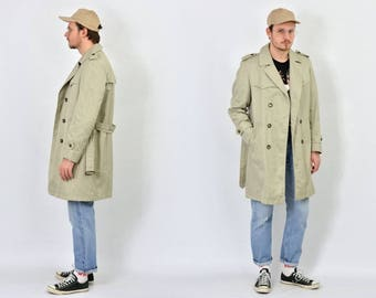 Olive Trench Coat jacket vintage military autumn belted green hipster double breasted button up mens L Large