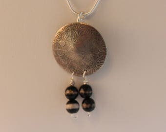 Etched Pendant with glass beads (061617-005)