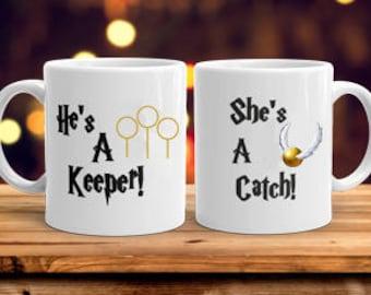 Personalised Harry Potter Inspired Mugs Keeper Catch Stocking Filler Secret Santa Christmas Birthday Wedding Gift Bride Groom Engagement