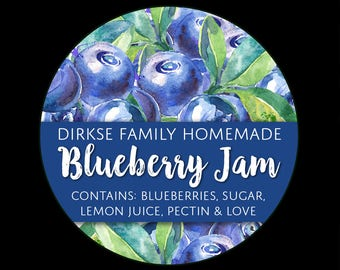 Customized Label - Blueberry Jam and Preserves, Watercolor Style Canning Jar Label - Wide Mouth & Regular Mouth - Watercolor Blueberries