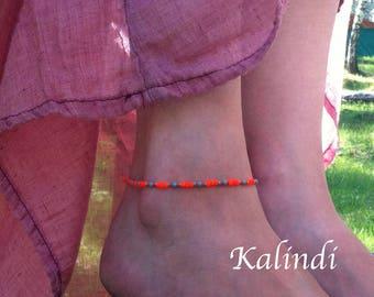 Neon orange UV Anklet, Handmade Anklet, Howlite, Beaded Anklet, Ankle Bracelet, Summer Jewelry, yellow Anklet, Seed Bead Anklet