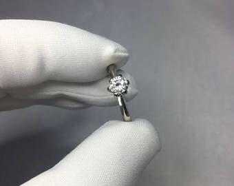 Natural White Diamond Engagement Ring 18k White Gold 0.48ct Round Brilliant SI F