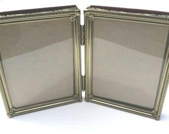 Vintage Metal Gold-Tone Photo Frames Hinged 3.5 by 4.5 Vintage Picture frames