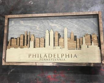 Philadelphia Skyline - Rustic Wood Layered 3d Skyline