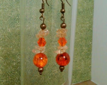 Drop earrings with citrine