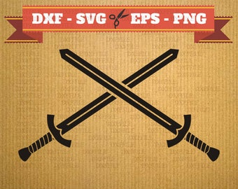 Sword svg vector files for cricut, sword cutting files, clipart two sword, DXF files sword, silhouette sword, svg sword, cricut