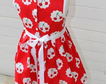 Girl cherry beautiful 100% cotton sleeveless dress