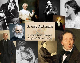 Great Authors - Digital Ephemera Classics, Digital Images, Vintage Art, Instant Download, Digital Paper, Digital Collage, Historical Images