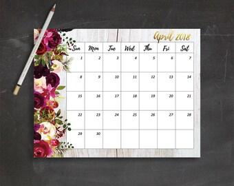 January Calendar Planner Instant Download PDF Printable Calendar January 2018 Monthly Planner 2018 Printable Bohemian Calendar Boho Calendar