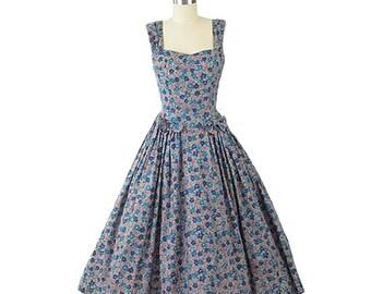80s Laura Ashley Floral Dress-1980s Garden Party Dress-Feminine-Romantic-Tea Length-Ladylike-Flower Print-Informal Wedding-Bridesmaid-S-Sm