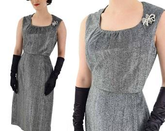 60s Black Silver Lurex Cocktail Dress-1960s Party Dress-Metallic-Sheath Style Dress-Sleeveless-Evening-M-Medium