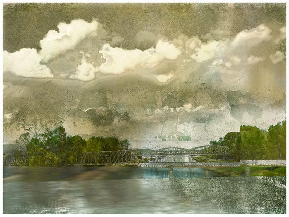 The Green Bridge, SUMMER SALE, bridge, landscape, limited edition, river scene, green, collage art,modern art print,architectural print