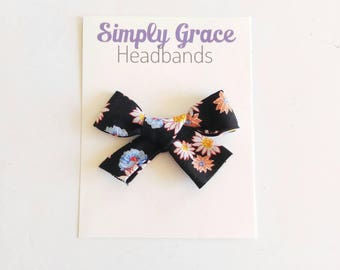 Black daisy school girl bow