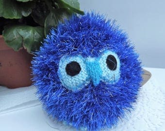 Sparkler the Owl. Blue. Hand knitted soft toy, graduation or childrens gift, birds, stuffed animal.