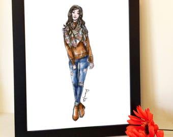 Custom Fashion Illustration, Personalized fashion sketch , custom gifts for her, custom fashion prints, home decor, unique birthday gifts