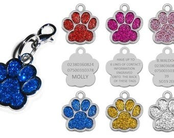 Engraved Pet Cat Dog Tags Personalised for Cats Dogs Puppy Paw Glitter Tag Disc
