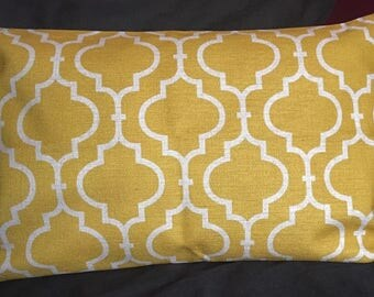 Yellow moroccan double-sided cushion cover 30x50cm rectangle bolster linen fabric