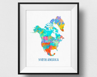 North America Map Wall Art, North America Map Print, Map Of North America Poster, Watercolour North America Continent Map, Home Decor (720)