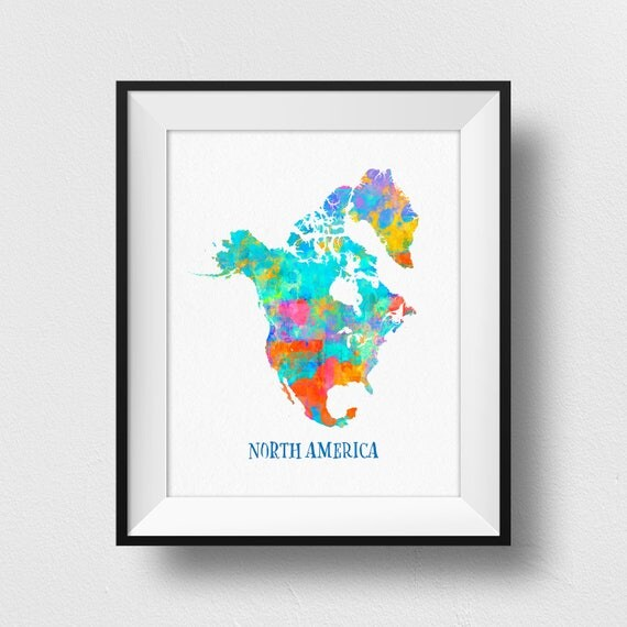 North America Map Wall Art Print Of: North America Map Wall Art At Usa Maps