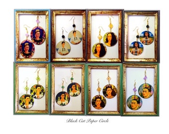Frida Kahlo Earrings-handmade handcrafted wooden earrings art Decoupage