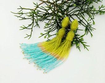 Beaded tassel earrings Green gold turquoise glass bead earrings Long beaded tassel earrings Oscar Fashion earrings Ombre beaded tassel
