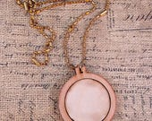 1 Mini Hoop Pendant Embroidery Blank with Necklace- Frame Craft Supply Jewelry Chain