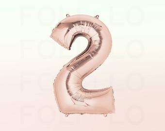 "40"" ROSE GOLD Number Balloon 