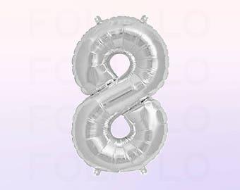 Metallic Silver Number 8 Balloon | Silver 8 Birthday Balloon | Silver Number 8 Balloon | Jumbo Number 8 Balloon