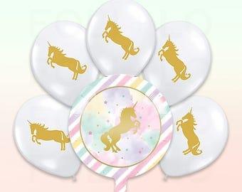 Rainbow UNICORN Balloon | Clear Balloon Pack | Unicorn Party Theme | Unicorn Balloon Decoration