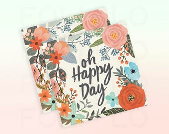 OH HAPPY DAY Napkins | Whimsical Floral Napkins | Wedding Napkins | Woodsy Party Theme | Size: 5 x 5 inches | Set of 24 Beverage Napkins