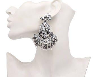 Drop down large bohemian earrings