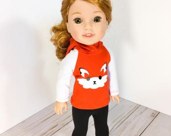 14.5 Inch Doll Clothes- Fox Sweater, Leggings, and shoes fits Dolls Like Wellie Wishers, glitter girls doll clothes