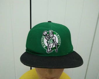 Rare Vintage BOSTON CELTICS Big Logo Embroidered Spell Out Cap Hat Free size fit all