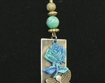 Riveted copper Locket chain, patina and fine stones, pattern Blue rose, designer jewelry