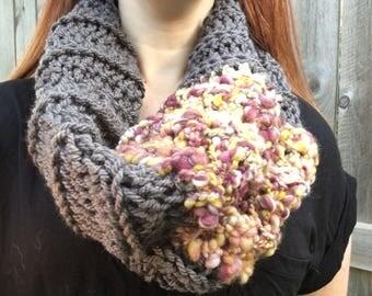 Funky bohemian art yarn cowl, Crochet Cowl, Infinity Scarf, purples and yellows