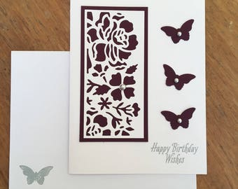 Happy Birthday Wishes Rose/Butterfly Card