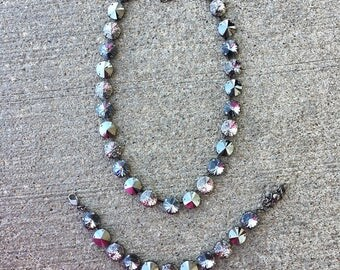 SLATE GRAY Swarovski crystal 12mm jewelry set in hematite with black patina, jet hematite, and silver night crystals