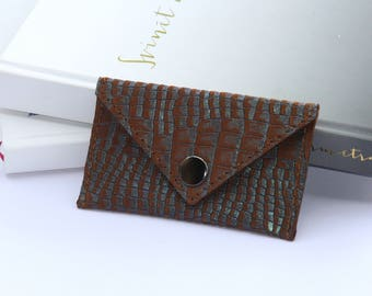 Business card case-Brown leather card case Business leather card case Brown leather card holder Brown leather wallet Credit card wallet