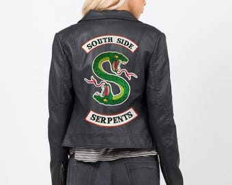Riverdale Jacket DIY South Side Serpants Embroidery Patch Southside Serpant Iron On Jughead Cole Sprouse