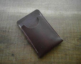 Brown Chromexcel Leather Minimalist Wallet (polyester thread)