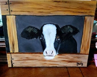 Original Cow Art - Acrylic Painting - Clearance
